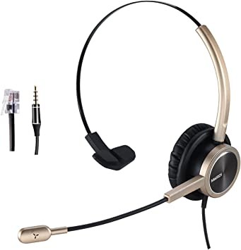 Amazon Com Phone Headset Rj9 For Office Call Center With Noise Cancelling Mic With Extra 3 5mm Connetor For Mobiles Compatible With Avaya Nortel Aastra Toshiba Phone Office Products
