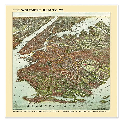 Antiguos Maps MAP of BROOKLYN New York Birds Eye View by the August Ohman Company circa 1908 - measures 24