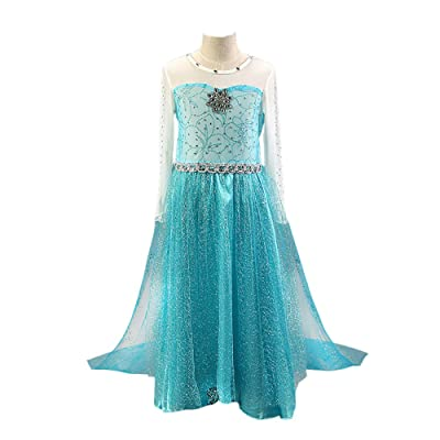 Daily Proposal FE9 Elsa Silver Mesh Dress Girl Halloween Costume 12M-8 USA: Clothing