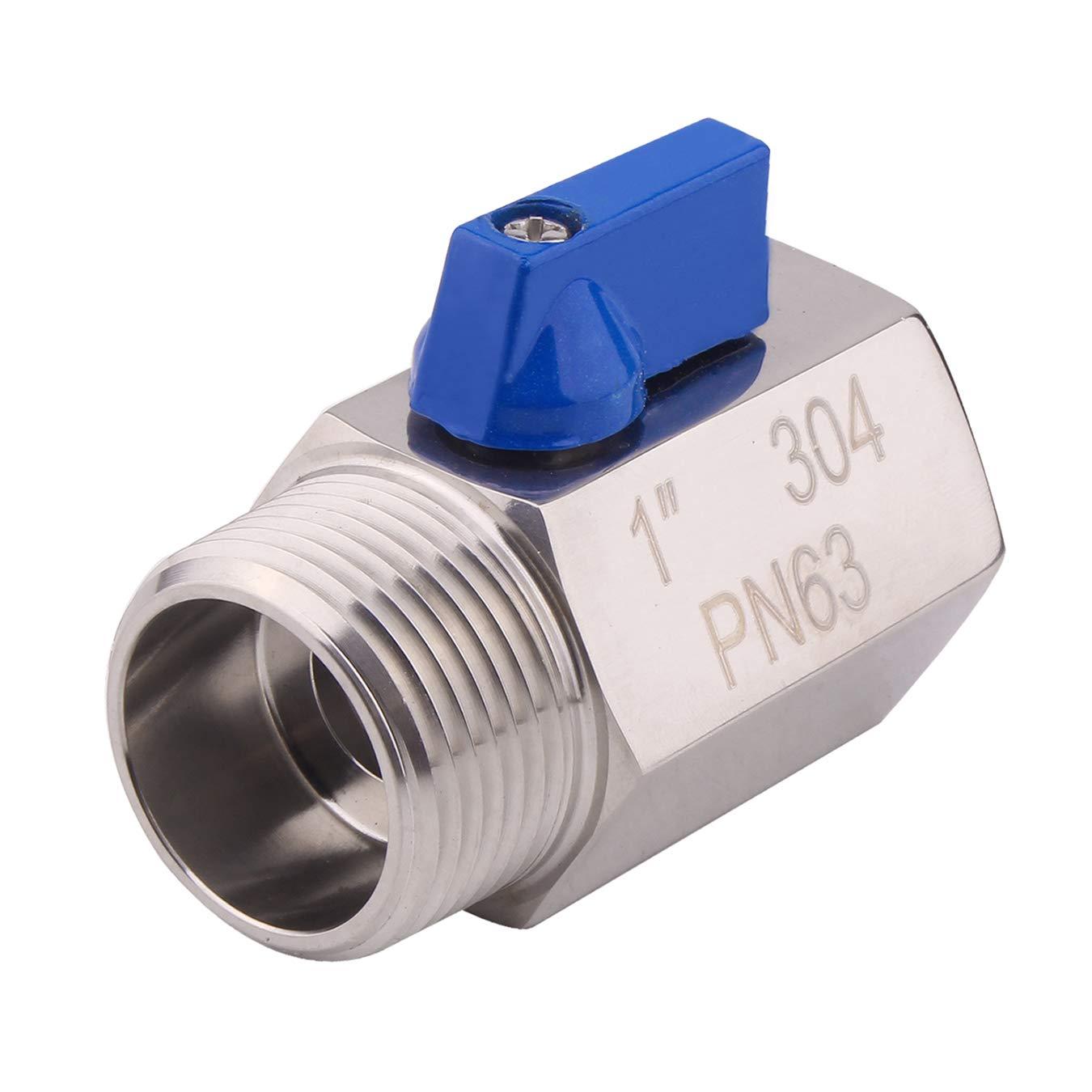 AIICIOO Stainless Steel Mini Ball Valve - NPT Thread with Stainless Handle (1