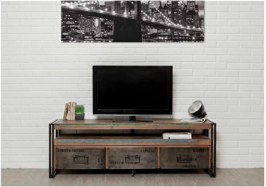 Mueble tv-largeur 160 cm-teck recyclé-3 tiroirs-1 nicho – loft-fait mano: Amazon.es: Hogar