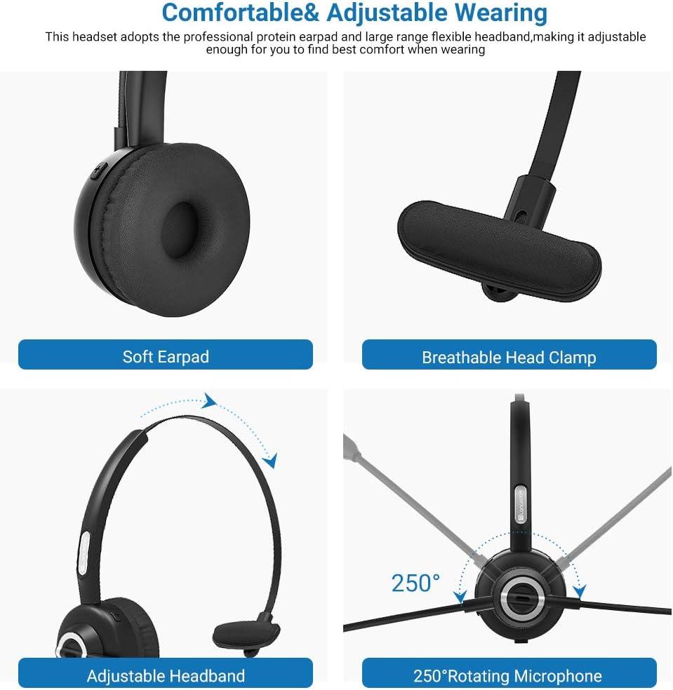 LKW-Fahrer Office Funk Headset Freisprechen f/ür Skype Bluetooth Headset Langsdom VoIP 24Hrs Drahtloses Leicht-Headset mit Mikrofon PC Headset Callcenter