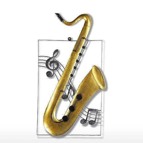 Amazon.com: Tooarts Modern Saxophone Wall Hanging Decoration Metal ...