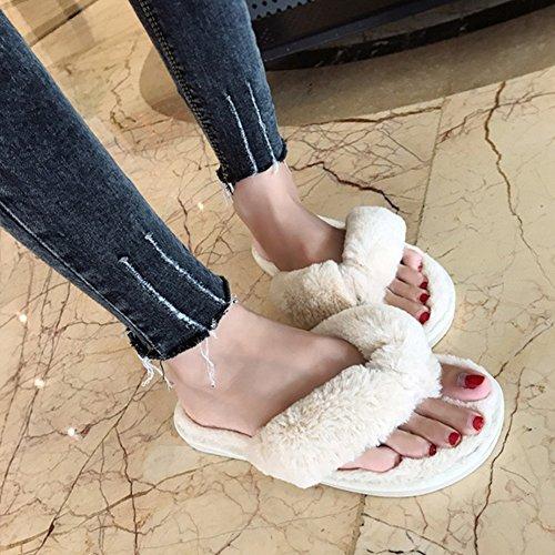 Vrouwen Slippers, Woopower Comfortabele Pluche Spa Thong Antislip Slippers Thuis Schoenen Beige