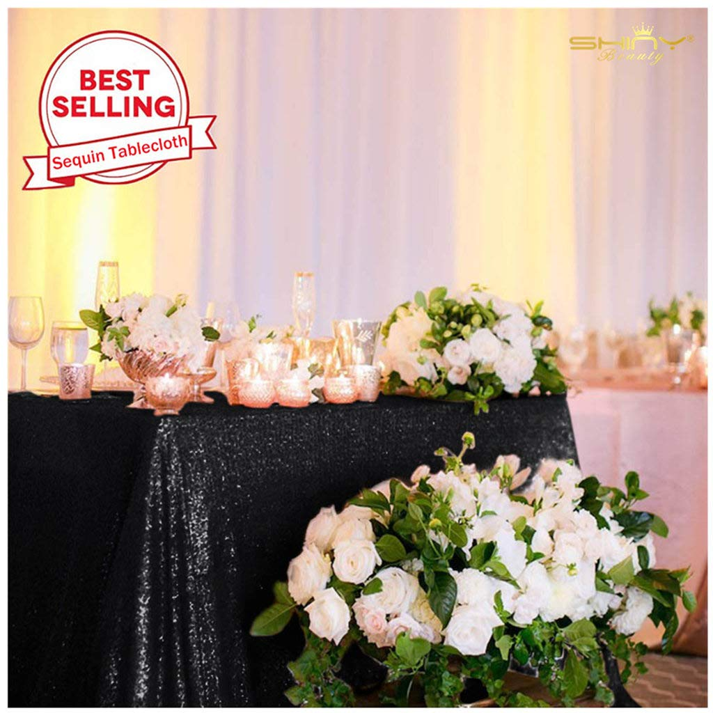 Black Tablecloth 70x70-Inch Sequin Table Cover Around The World Party Decorations