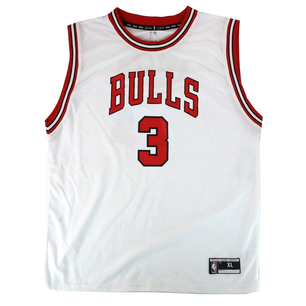online store aa5e2 63f12 Outerstuff Dwyane Wade NBA Chicago Bulls Official Home White Player Replica  Jersey Youth