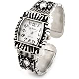 Silver Black Western Style Decorated Crystal Band Women's Bangle Cuff Watch