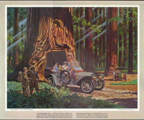 1909 Stearns Toy Tonneau redwood tunnel tree Humble Oil calendar print 1960s