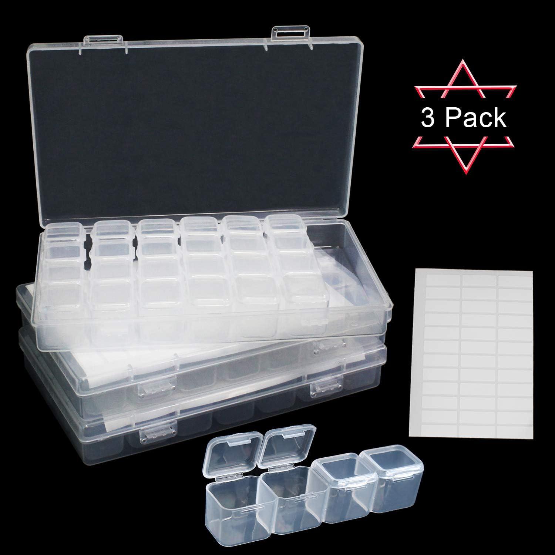 Qualsen 3 pcs Caja De Pintura De Diamante 28 Rejillas Mini Caja De Bordado De Diamante PortáTil Almacenamiento De Cuentas para Nail Art Rhinestone: Amazon.es: Hogar