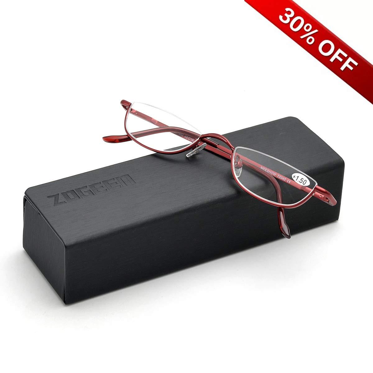 ZUVGEES Vintage Alloy Semi Rimless Reading Glasses Men Women Half Frame Slim Glasses with Stylish Case T0340 1.00)
