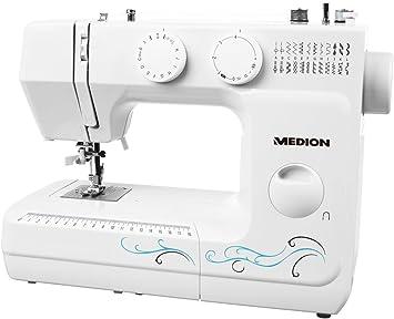 MEDION MD 18205 - Máquina de coser de brazo, potencia de 62 W, 60 patrones, cose, ojal y enhebra, luz de costura LED ...