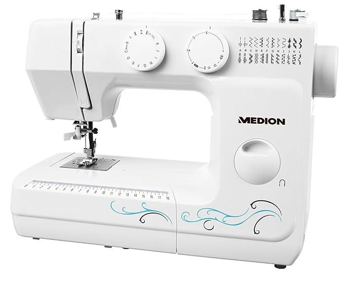 Medion MD 18205 - Máquina de coser de brazo, potencia de 62 W, 60 patrones, cose, ojal y enhebra, luz de costura LED, botón de retroceso, amplia gama de ...