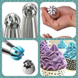 Russian Ball Piping Tips DELUXE 30pcs Cake Decorating Supplies Set for cake cupcake 7 Ball Tips 20 Piping Bags Single Coupler Tri Color Coupler Silicone Bag Online Videos BEST Baking Supplies