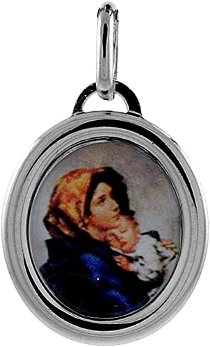 925 Sterling Silver Polished Blessed Mary /& Child Jesus Charm Pendant