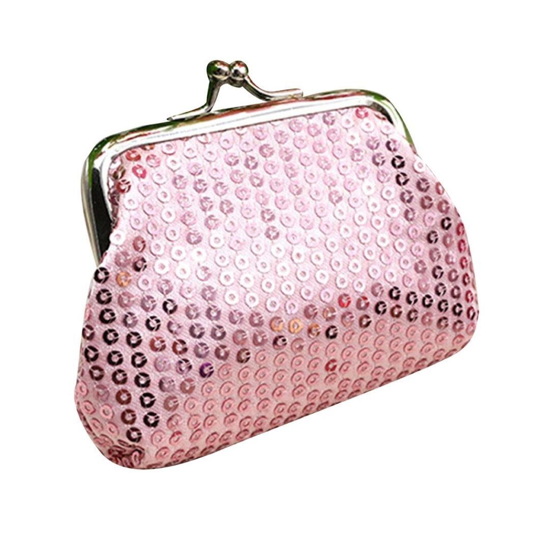 レディース小さなスパンコール財布カードホルダーコイン財布クラッチハンドバッグバッグ、llguzレディース軽量ファッショナブルスモール財布カードパッケージ B079JT4RGD ピンク