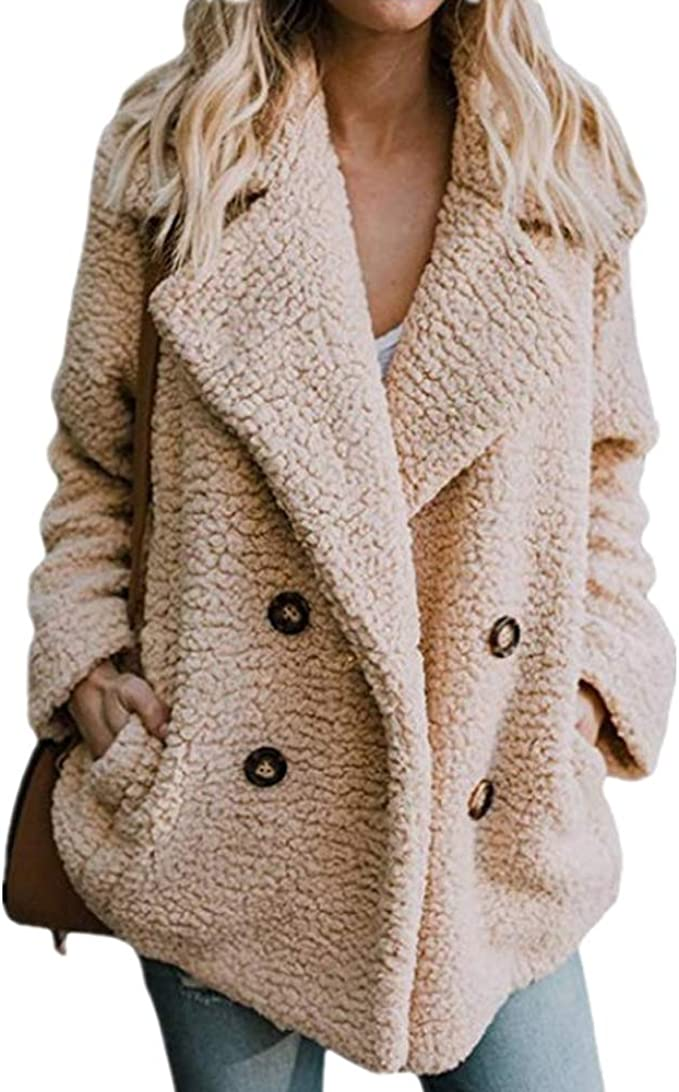 Womens Sherpa Front Cardigan Jacket Coat Outwear with Pocket White