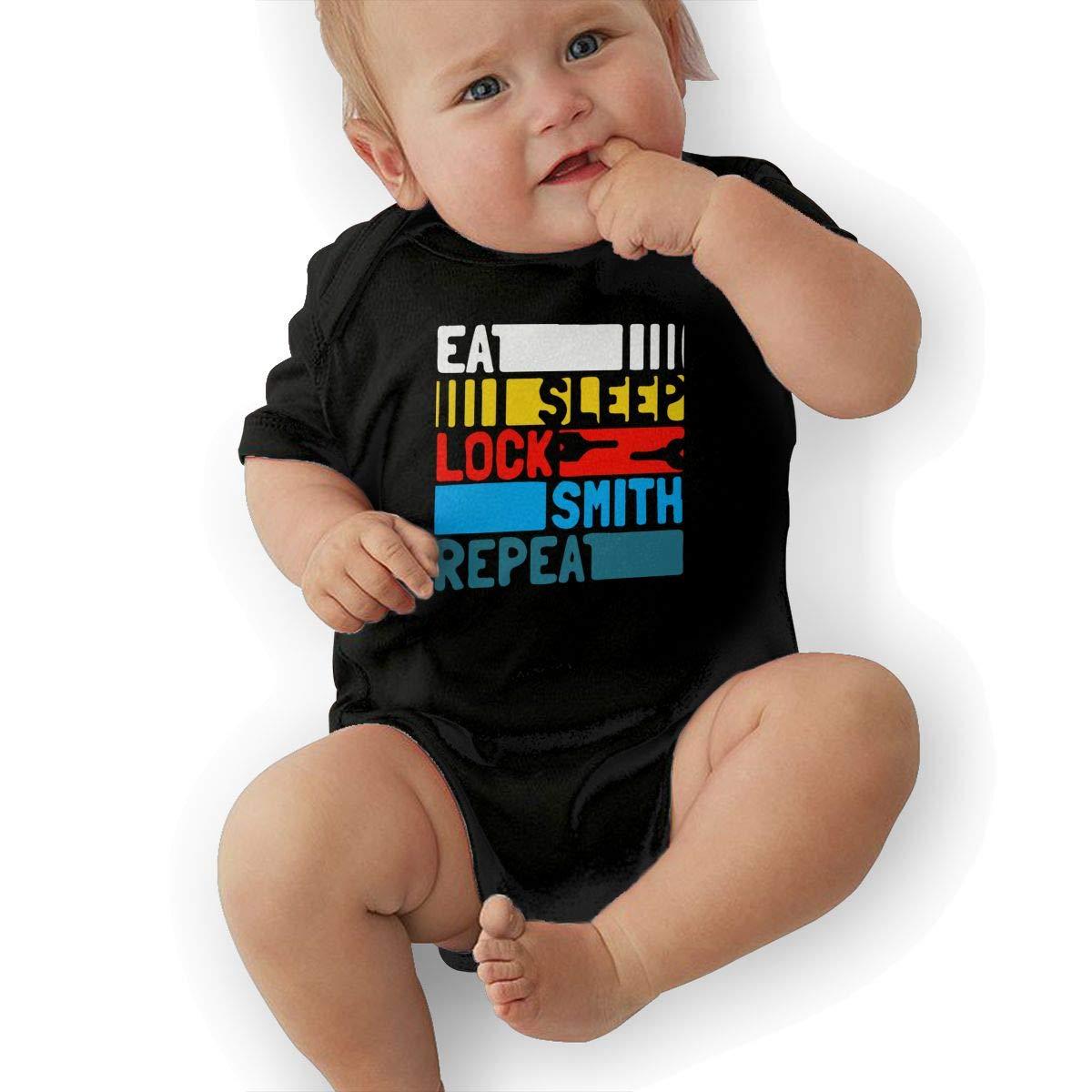 U88oi-8 Short Sleeve Cotton Rompers for Baby Girls Boys Cute Eat Sleep Locksmith Repeat Onesies
