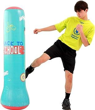 LONEEDY Saco de arena inflable para fitness, saco de arena de boxeo de pie, para jóvenes y niños, saco de arena pesado, combinación de fitness y entretenimiento