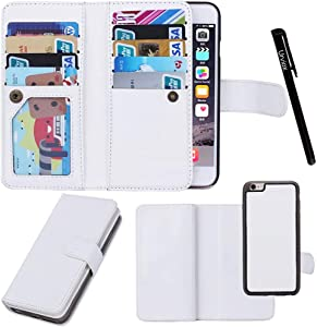 """Urvoix for Apple iPhone 8 Plus/iPhone 7 Plus/iPhone 6S Plus(5.5"""" Display), Wallet Leather Flip Card Holder Case, 2 in 1 Detachable Magnetic Back Cover iPhone 8Plus/7Plus/6Plus(NOT for iPhone8)"""