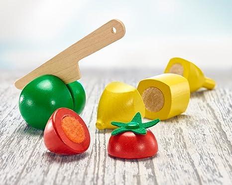 Selecta 62070 Obstsalat Klett und Schneidespielzeug aus Holz K/üchen-Spielzeugset 11 Teile