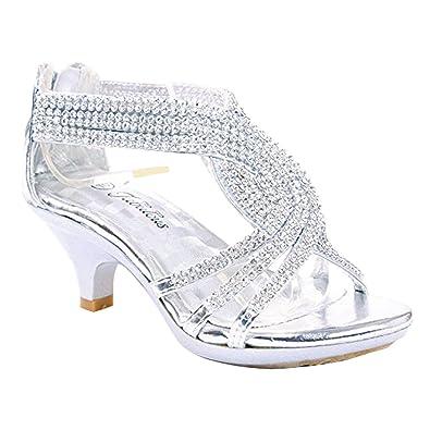 b5bd72f81e0 JJF Shoes Angel-37 Kids Silver Little Girls Bling Rhinestone Platform Dress  Heels Sandals