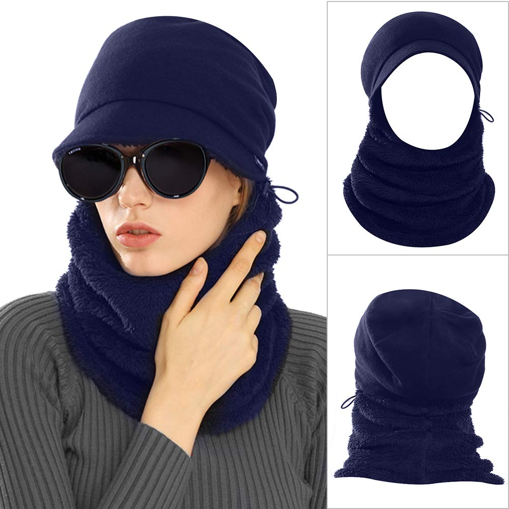 AblerV Balaclava Men Women Winter Hat Scarf Set Windproof Ski Mask Winter Warmer Protective Headgear Wind Resistant Cap, Ski Face Mask Hat Outdoor Sports Cycling Motorcycle Dark Blue by AblerV (Image #1)