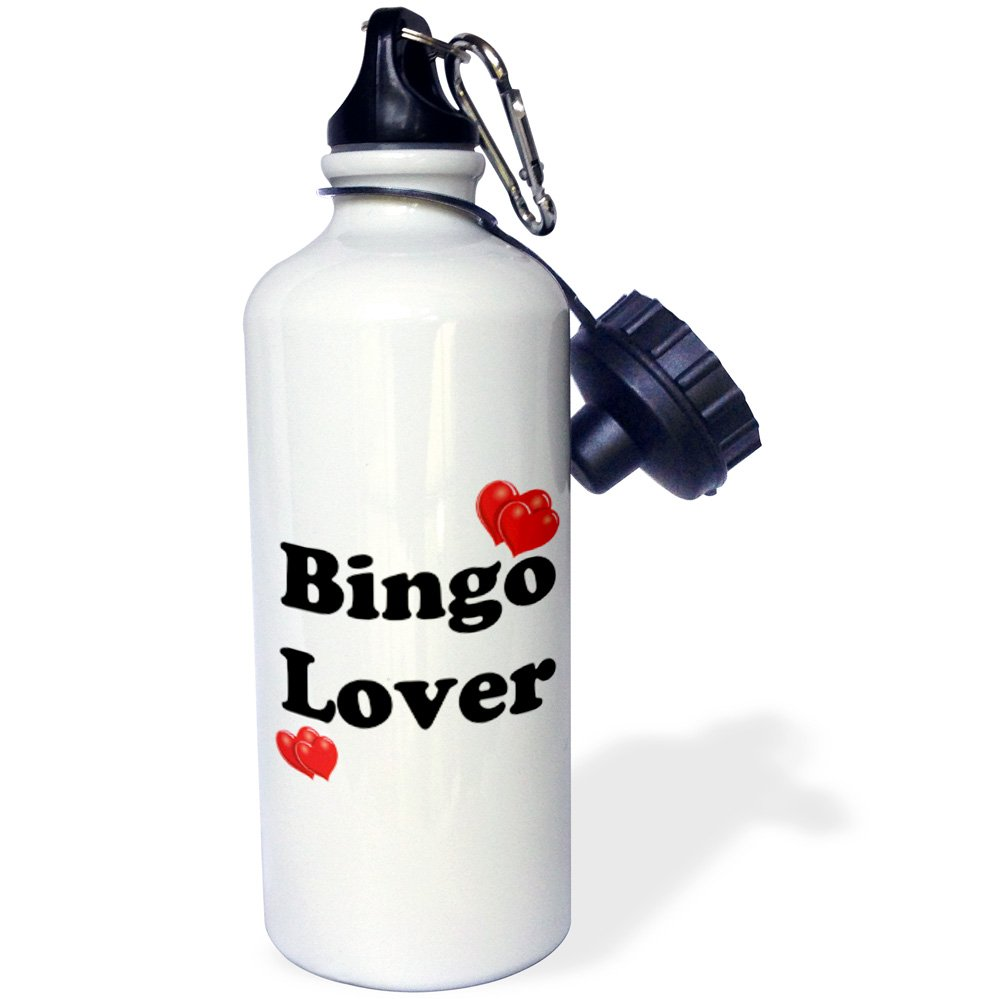 3dRose wb_108315_1 ''Bingo Lover'' Sports Water Bottle, 21 oz, White by 3dRose