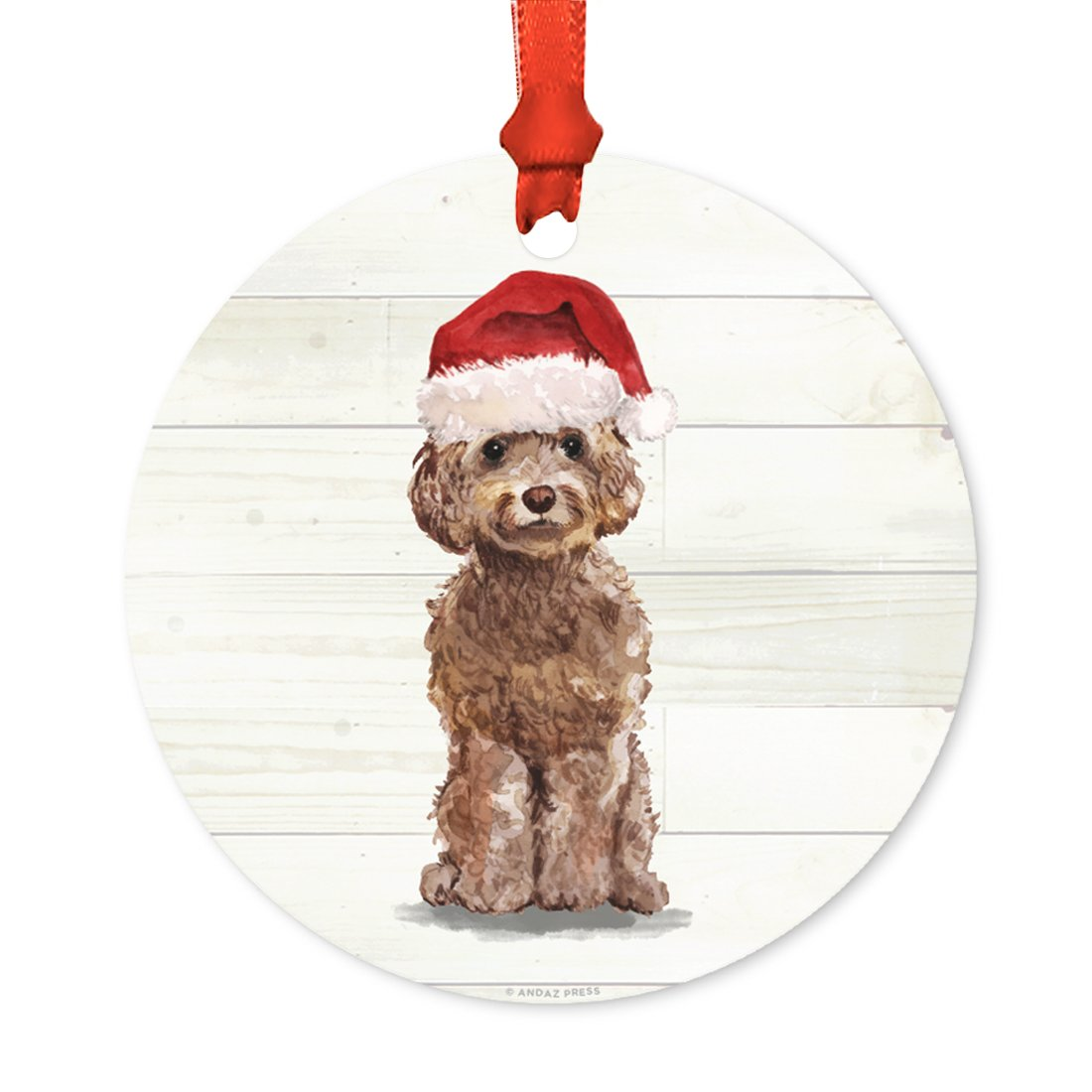 Andaz Press Animal Pet Dog Metal Christmas Ornament, Brown Cockapoo with Santa Hat, 1-Pack, Includes Ribbon and Gift Bag