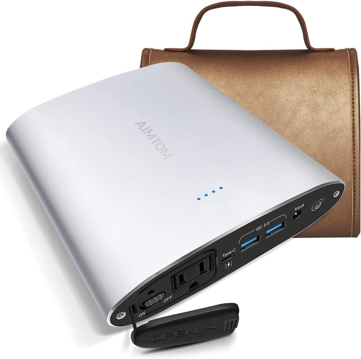 AIMTOM 99Wh Portable Power Station, 110V 100W AC Outlet, 30W USB-C and Quick Charge 3.0 (Allowed on a Flight), 26800mAh Laptop Power Bank, External Battery Pack for MacBook, Laptop, Cell Phone, Camera