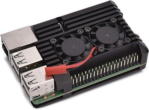 DragonPad Raspberry Pi 4 Aluminum Case with Dual Cooling Fan Metal Shell Black Enclosure for RPI 4 Model B Double Fan