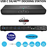 MediaGear USB C 5K/4K Pro Docking Station with 100W Laptop Power Delivery: Dual DisplayPort, USB 3.0/2.0, Ethernet, Audio Bundle w/ 120W AC Adapter, C-C Cable, DP to HDMI Adapter for Mac & Windows OS