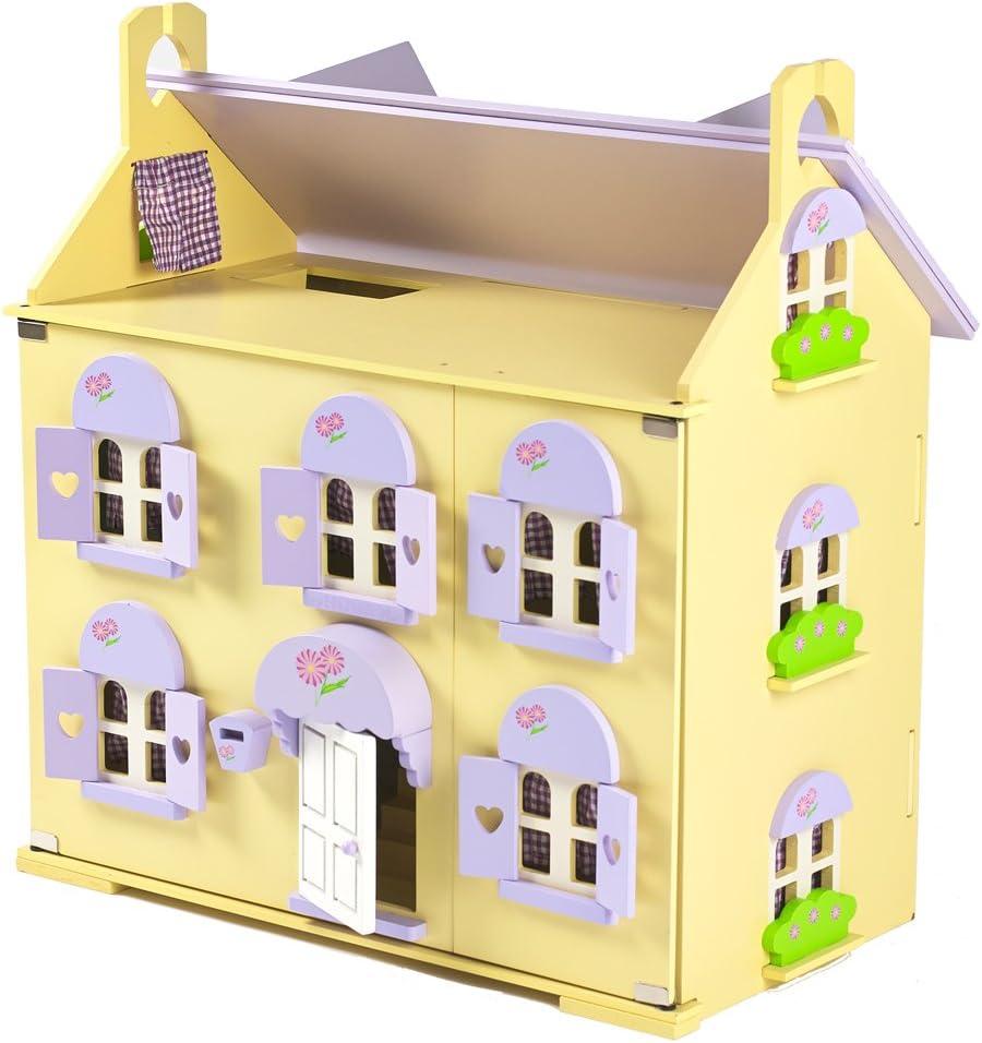 Berrybee Cottage Para Niños De Madera Casa De Muñecas Con Cortinas Y 2 escaleras