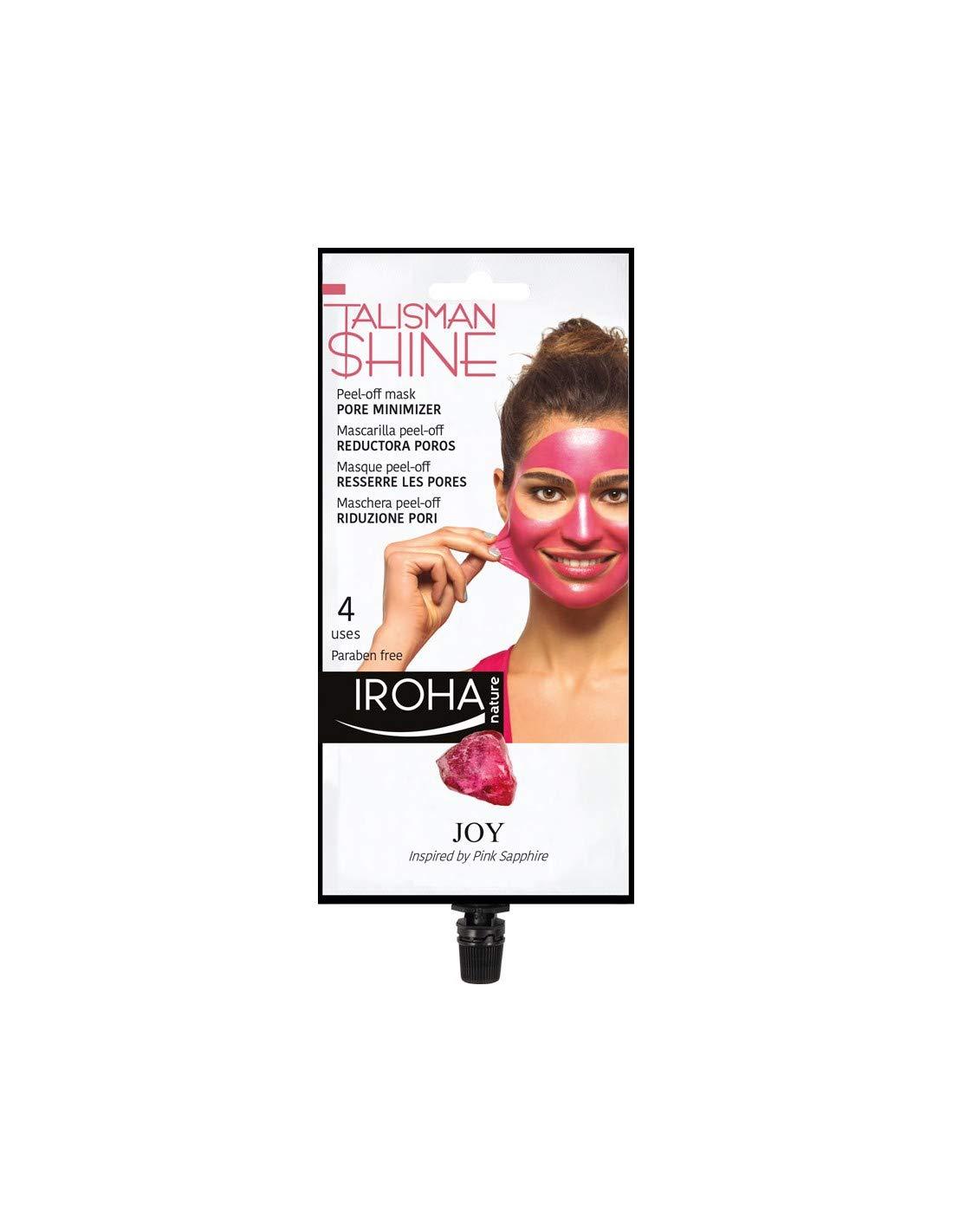 Iroha Nature - Mascarilla Facial Peel Off Rosa, Talisman Shine, Reductora de Poros con Uva y Pomelo, 4 usos 1packs   Mascarilla Peel-Off Poros