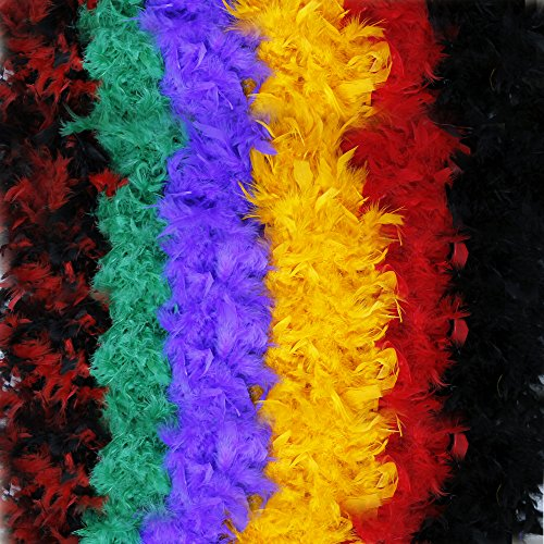Fun Central BC687, 6 Pcs, 6 Feet, 60g Assorted Colorful Feather Boas, Girls Feather Boa, Dress up Boa, Mardi Gras Boa, Feather Boas for Adult, Boa Costume Party Pack