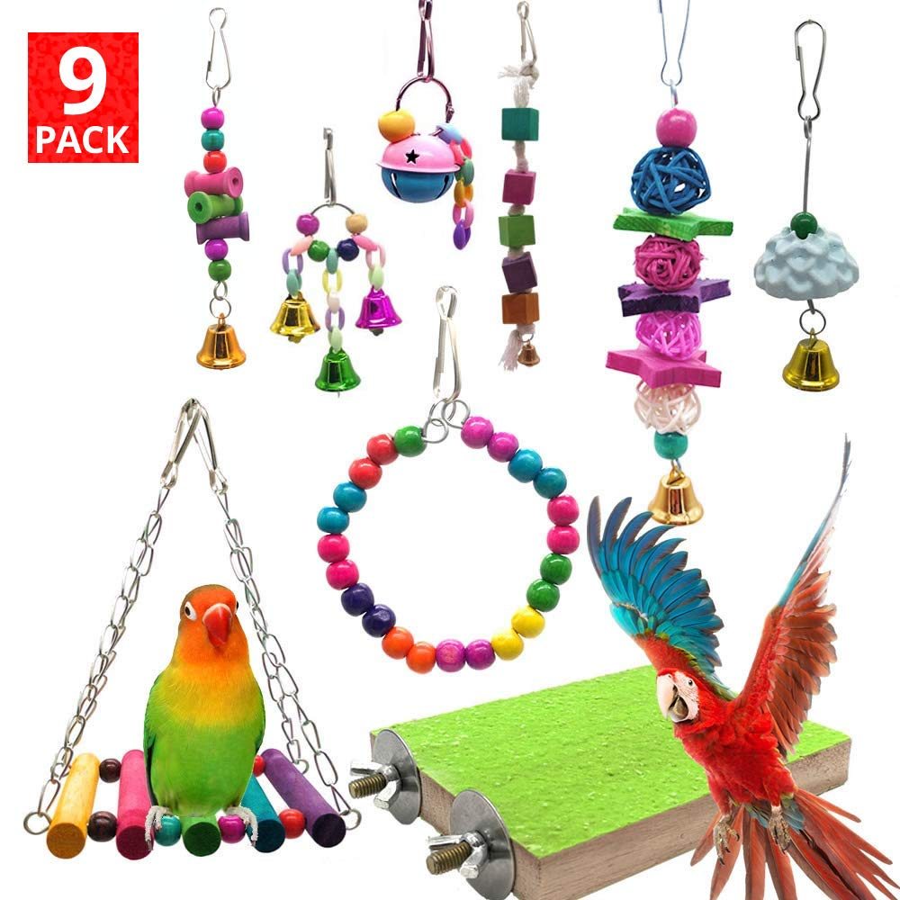 Mrli Pet 9 Pack Bird Swing Toys with Colorful Wood Beads Bells and Wooden Hammock Hanging Perch for Budgie Lovebirds Conures Small Parakeet Cages Accessories by Mrli Pet