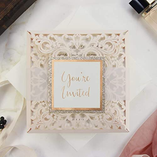 Peach Elegant Lace Wedding Invitations With Envelopes Laser