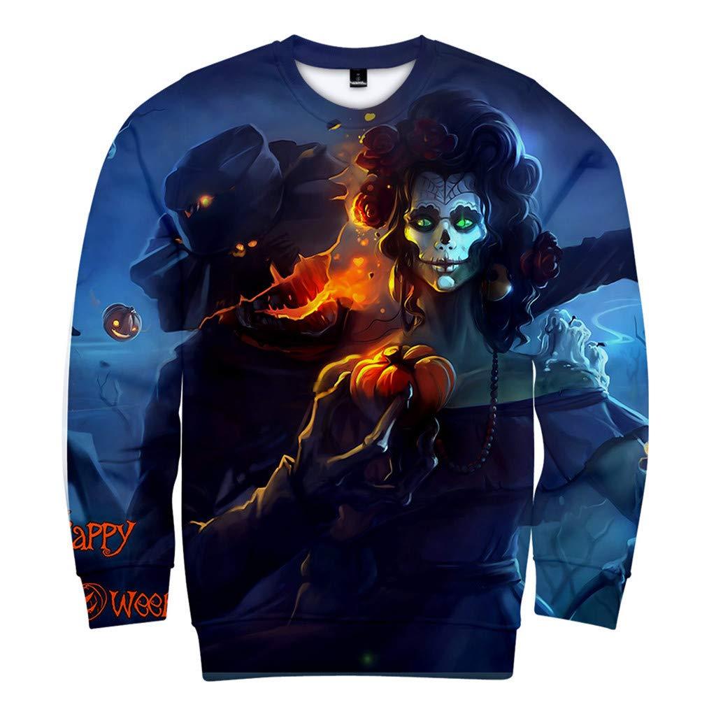 DRAGONHOO Hooded Sweatshirts Mens Casual Scary Halloween Lover 3D Print Party Long Sleeve NOhoodie Top Blouse Long Sleeve t Shirt Blue by DRAGONHOO