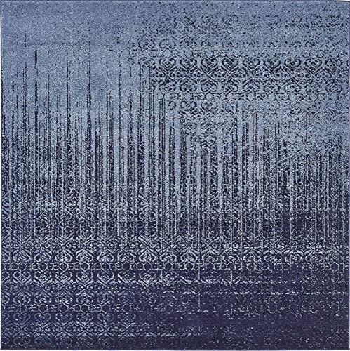 - Unique Loom Del Mar Collection Contemporary Transitional Blue Square Rug (6' 0 x 6' 0)