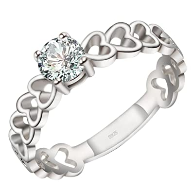 Viyino Jewellery 925 Sterling Silver Womens Ring, Love Heart, Color Silver