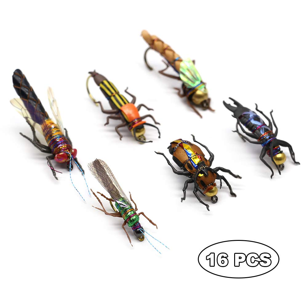 YZD Trout Fly Fishing Flies Collection Dry Wet Nymph Fly Assortment with Fly Box Flyfishing Flys Lures 12/16/18/22/36 Kits (Dragon Larvae kit)
