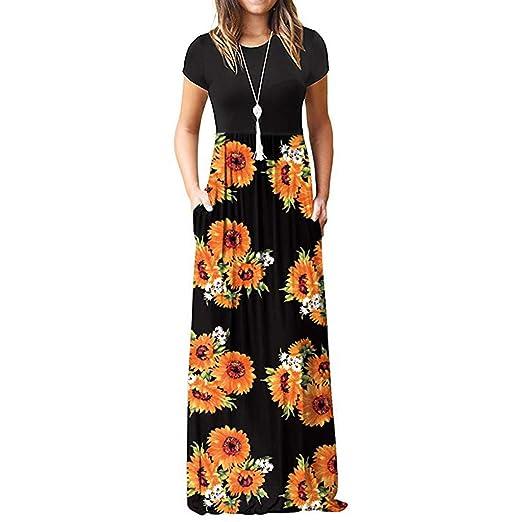 5e7719a443c0 Women Dresses Boho Cocktail Party Evening Maxi Dress Beach Sundress for  Summer
