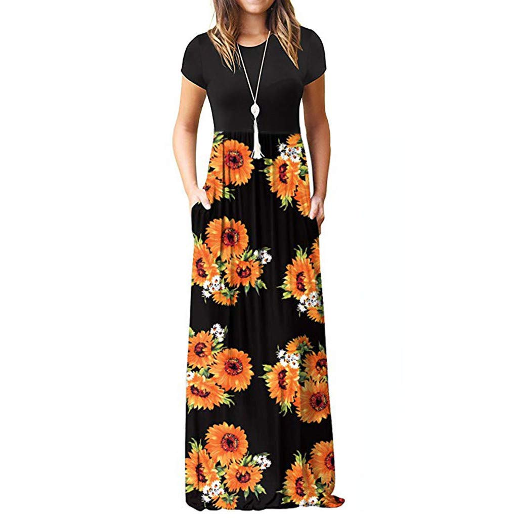Women Maxi Tank Long Dress, Lady Summer Casual Crew Neck Short Sleeve Sunflower Print Beach Sundress with Pockets (XX-Large, Black) by LANTOVI Women Dress (Image #1)