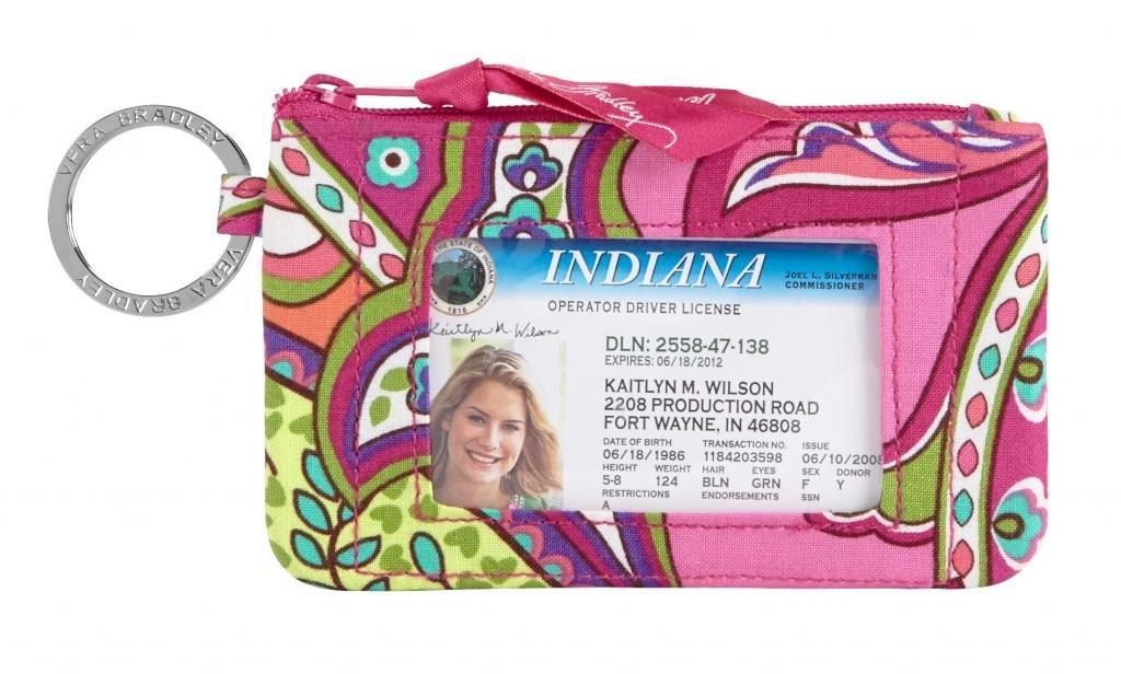Vera Bradley Zip ID Case in Pink Swirls