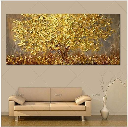 Amazon De Handgemalte Messer Gold Baum Olgemalde Auf Leinwand