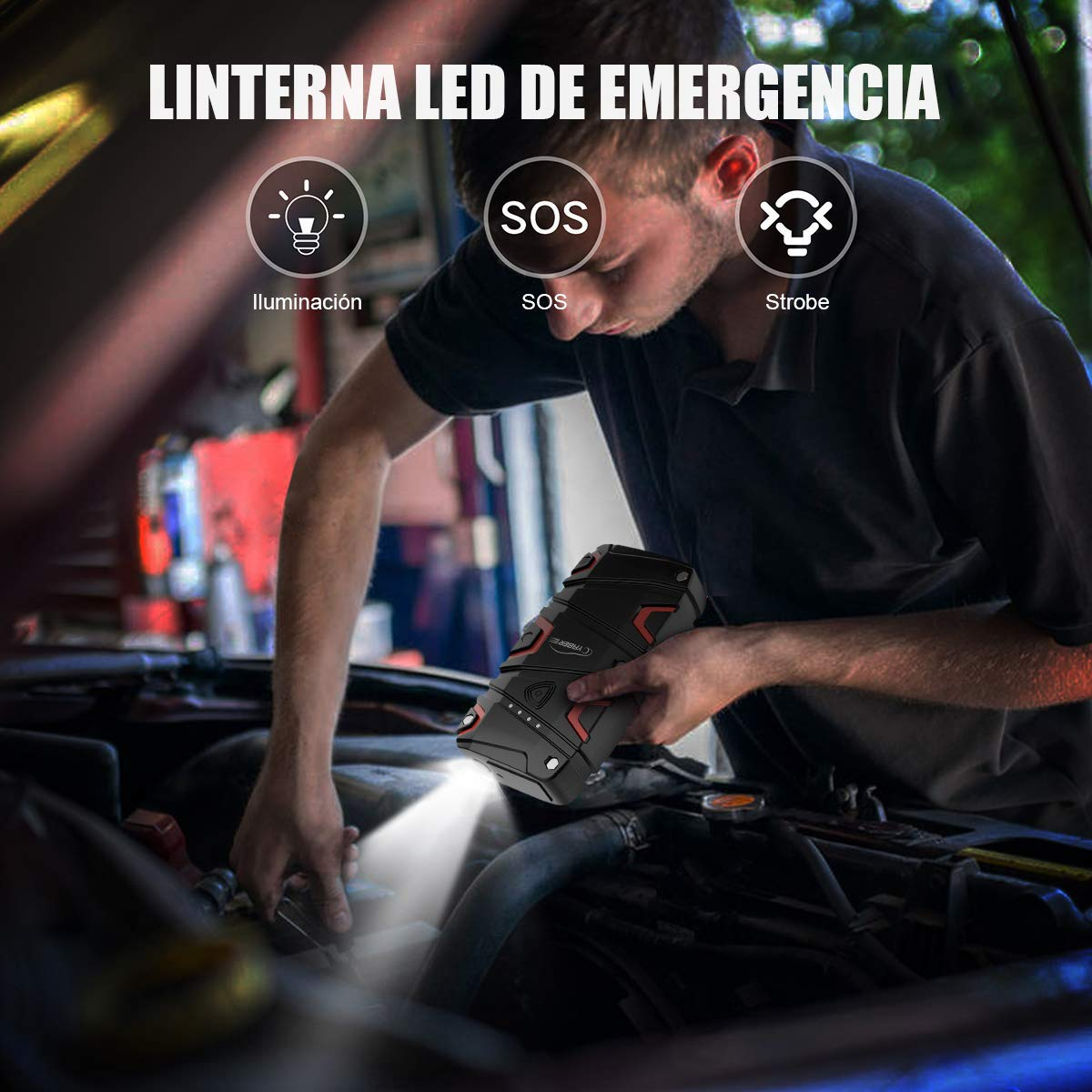 con IP68 Impermeable 1200A Arrancador Bater/ía Coche Jump Starter con Carga R/ápida QC3.0 para 7.5L de Gasolina o 6.0L de Diesel YABER Arrancador de Coches