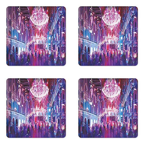 Lunarable Fantasy Coaster Set of 4, Opera Opening Elite People Night Club Big Crowd Dancing Having Fun Happy Artwork Print, Square Hardboard Gloss Coasters for Drinks, Blue