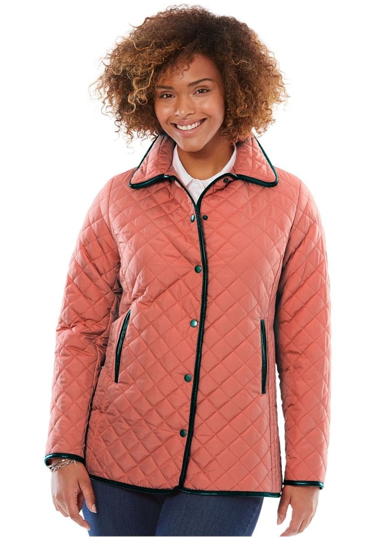 Women's Plus Size Light Quilted Snap-Front Jacket Dusty Coral,24 W