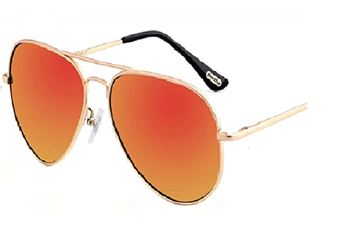 Aviator Gafas de sol unisex oro Marcos con polarizadas naranja ámbar lente de espejo