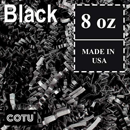 1/2 LB Black Crinkle Shred Gift Basket Shred Crinkle Paper Filler Bedding by COTU (8 oz)