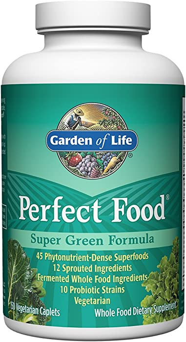 Garden of Life Whole Food Vegetable Supplement - Perfect Food Green Superfood Dietary Supplement, 150 Vegetarian Caplets